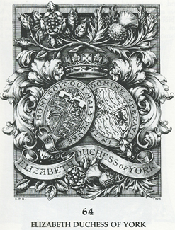 Bookplate of the late Queen Elizabeth the Queen Mother