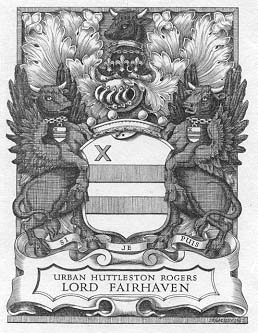 Lord Fairhaven's armorial bookplate by Badeley