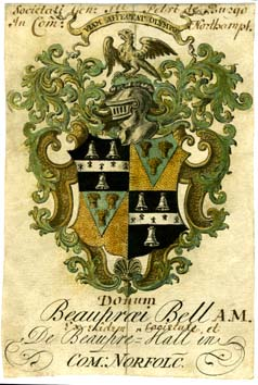 Jacobean bookplate of Beaupré Bell