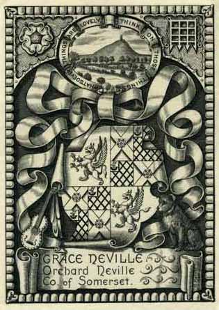 Ex-libris of Grace Neville, a typical design by Miss Helard