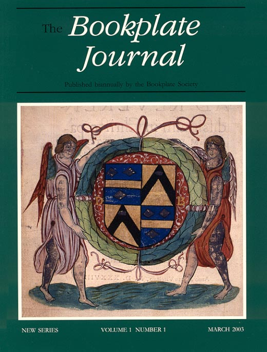 Cover of March 2003 issue of The Bookplate Journal showing the handcoloured bookplate of Cardinal David Beaton