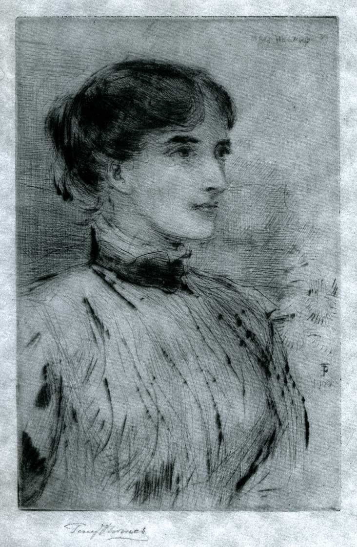 Etching of Miss C. Helard by Percy Thomas, undertaken whilst she was his student in 1900 - Artist's presentation copy to the sitter, inscribed: Percy Thomas with kind regards to Miss Helard.