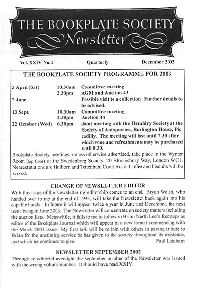 First page of the December 2002 issue of The Bookplate Society Newsletter